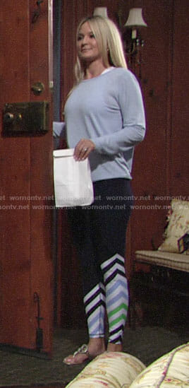 Sharon's striped leggings and blue open-back top on The Young and the Restless