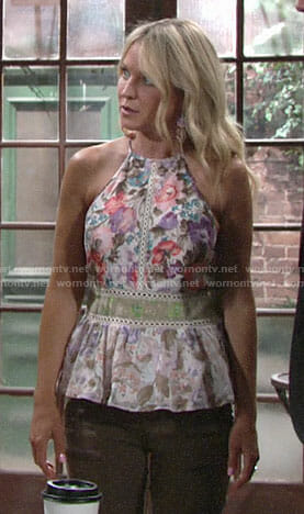 Sharon's mixed floral print peplum top on The Young and the Restless