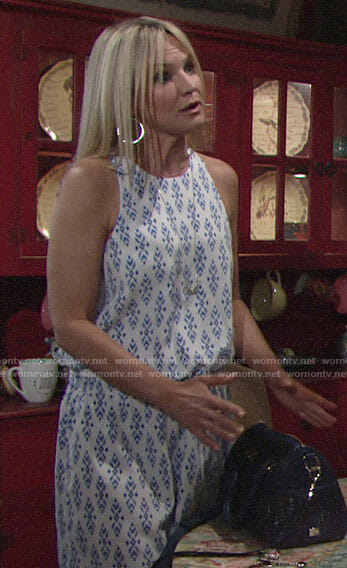 Sharon's blue ikat print dress on The Young and the Restless