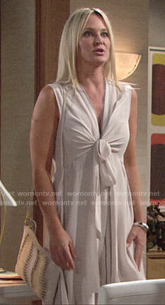 Sharon's light pink tie front dress on The Young and the Restless
