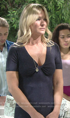 Sharon's navy twist front dress on The Young and the Restless