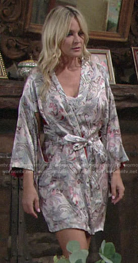 Sharon's paisley robe on The Young and the Restless