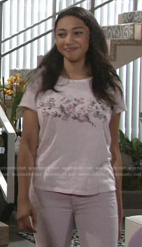 Shauna's pink floral  embroidered tee on The Young and the Restless