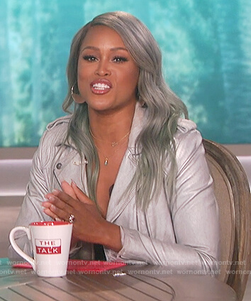 Eve's silver metallic moto jacket on The Talk