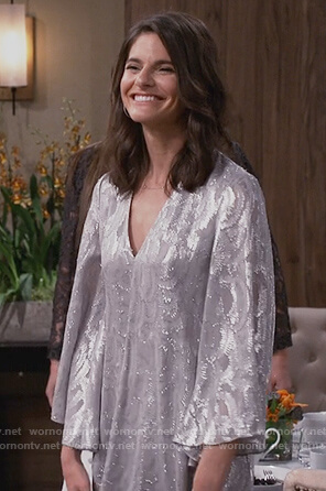 Leslie's silver metallic dress on Living Biblically