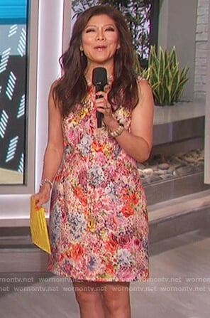 Julie's sleeveless floral mini dress on The Talk