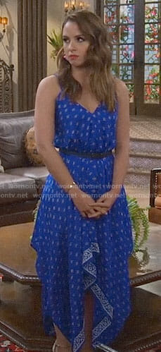 Sofia's red floral off-shoulder top on Young and Hungry