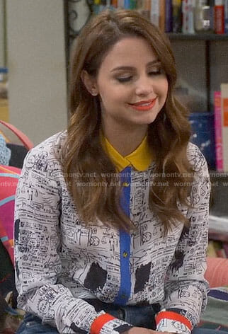 Sofia's blue dotted off-shoulder top on Young and Hungry