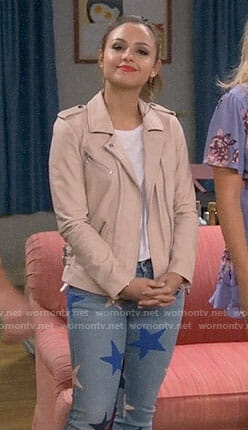 Sofia's star print jeans and blush leather jacket on Young and Hungry