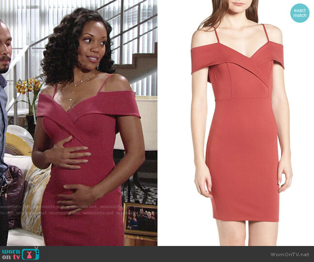 Soprano Cold Shoulder Body-Con Dress worn by Hilary Curtis (Mishael Morgan) on The Young & the Restless