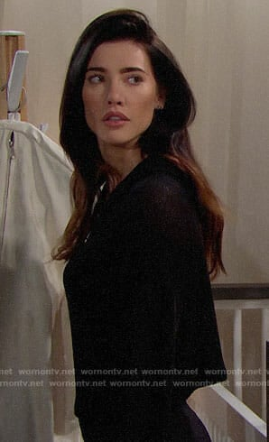 Steffy's black cropped hoodie on The Bold and the Beautiful