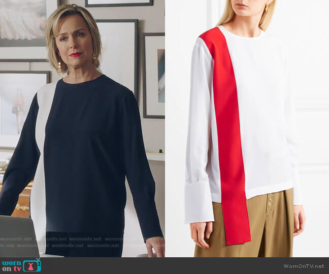 Draped two-tone silk-crepe top by Stella McCartney worn by Jacqueline (Melora Hardin) on The Bold Type