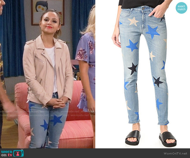 Stella McCartney Skinny Boyfriend Star Print Jeans worn by Sofia Rodriguez (Aimee Carrero) on Young & Hungry