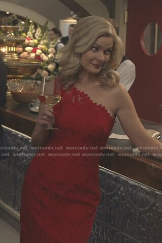 Stephanie's red one shoulder lace dress on Good Witch