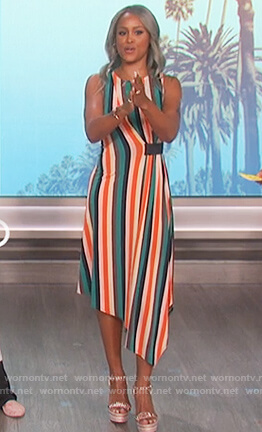 Eve's multicolored striped dress on The Talk