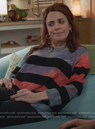 Jo's striped distressed sweater on Girlfriends Guide to Divorce