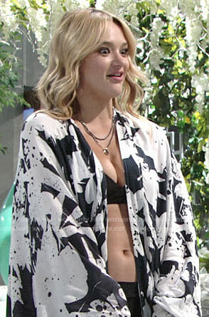 Summer's black and white floral kimono on The Young and the Restless