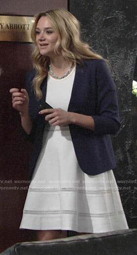 Summer's white fit and flare dress on The Young and the Restless