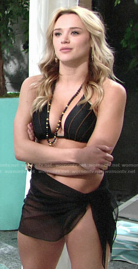 Summer's black striped bikini on The Young and the Restless