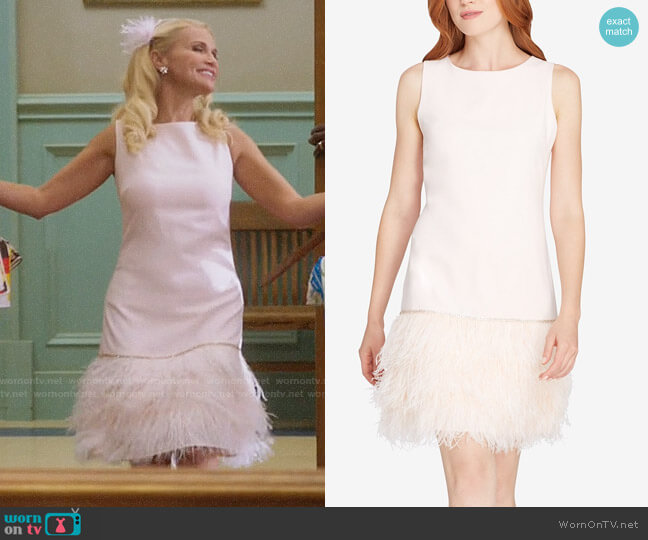 Tahari ASL Feather and Rhinestone Dress worn by Lavinia Peck-Foster (Kristin Chenoweth) on Trial & Error