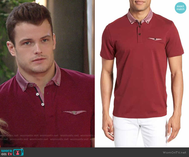Ted Baker Movey Trim Fit Woven Geo Polo worn by Kyle Abbott (Michael Mealor) on The Young & the Restless