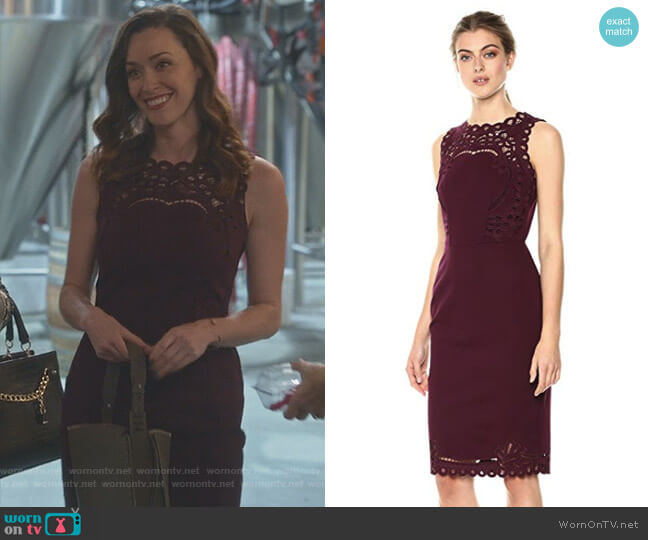 'Verita' Dress in Maroon by Ted Baker worn by Sarah Power on Good Witch