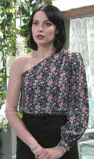 Tessa's floral one-shoulder top on The Young and the Restless