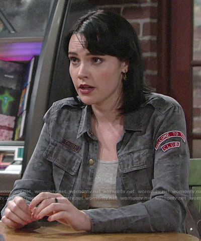 Tessa's camo shirt with patches on The Young and the Restless