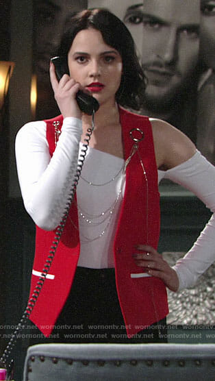 Tessa's red chain detail vest on The Young and the Restless