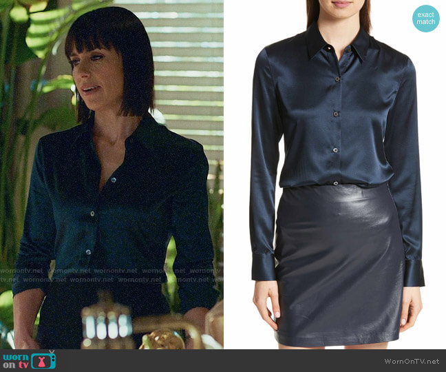 Theory THEORY Perfect Fitted Stretch Satin Shirt  worn by Constance Zimmer on UnReal