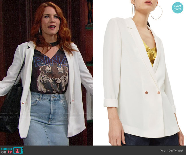 Topshop Ava Double Breasted Blazer worn by Courtney Hope on The Bold & the Beautiful