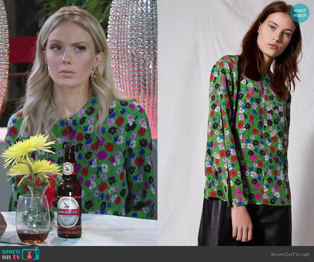 Topshop Extreme Split Blouse worn by Abby Newman (Melissa Ordway) on The Young & the Restless