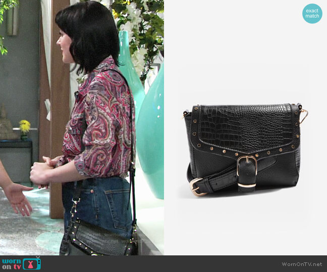 Topshop Romeo Crocodile Effect Cross Body Bag worn by Cait Fairbanks on The Young & the Restless
