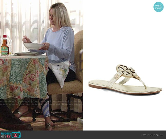 Tory Burch Miller Sandals worn by Sharon Case on The Young & the Restless