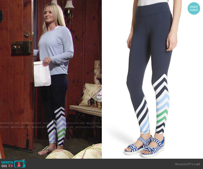 Tory Sport Diagonal Stripe Leggings worn by Sharon Case on The Young & the Restless