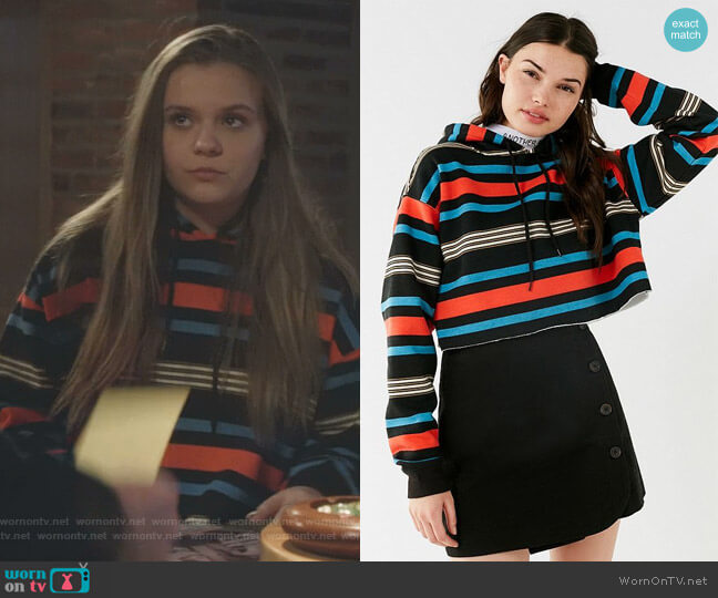 Out From Under Striped Cropped Hoodie Sweatshirt worn by Daphne Conrad (Maisy Stella) on Nashville