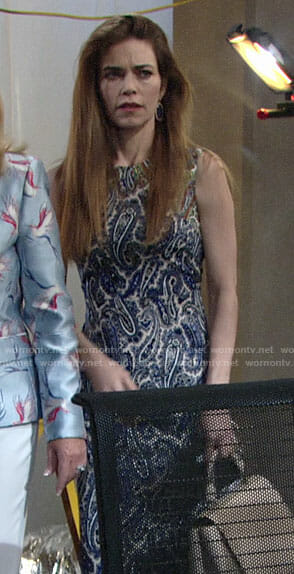 Victoria's paisley sheath dress on The Young and the Restless