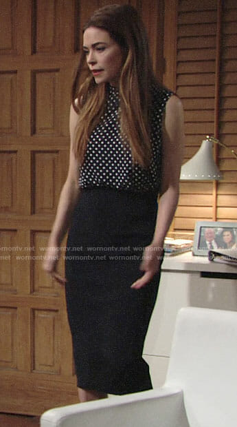Victoria's polka dot top with open back on The Young and the Restless