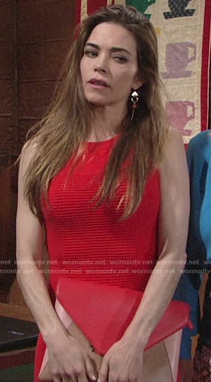 Victoria's red ribbed dress on The Young and the Restless