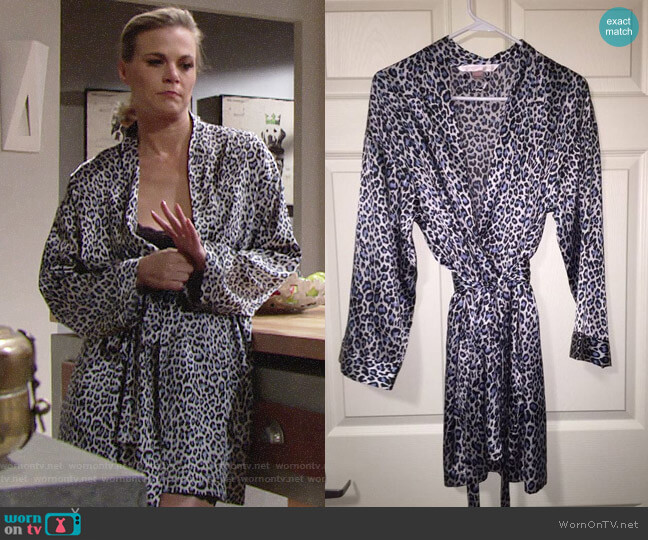 Victorias Secret Very Sexy Blue Leopard Print Robe worn by Phyllis Newman (Gina Tognoni) on The Young & the Restless