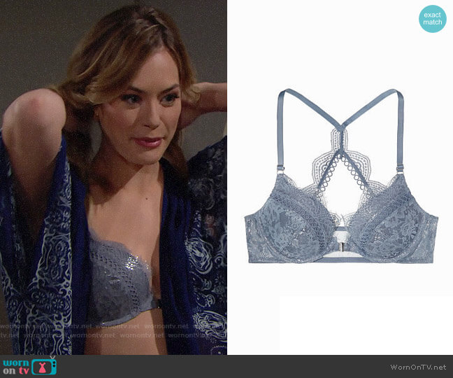 Victorias Secret Dream Angels Push Up Bra in Front-Close Coastal Blue Wildheart Lace With Silver Foil Shine worn by Hope Logan (Annika Noelle) on The Bold & the Beautiful