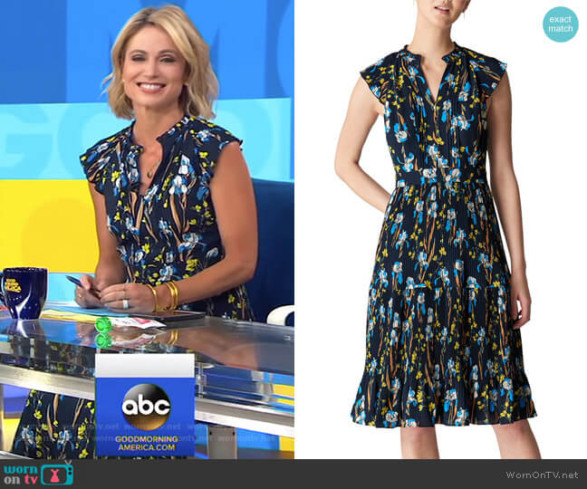Celia Iris Print Pleated Dress by Whistles worn by Amy Robach  on Good Morning America