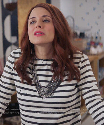 Jo's striped distressed top on Girlfriends Guide to Divorce