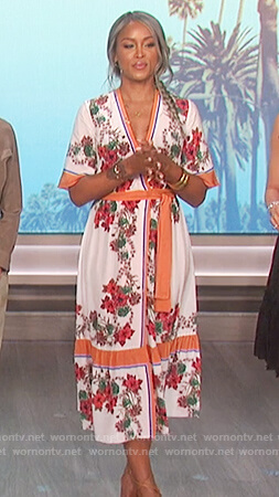 Eve's white floral print wrap dress on The Talk