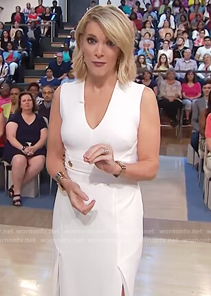 Megyn's white belted v-neck dress on Megyn Kelly Today