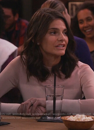 Leslie's white ribbed detail top on Living Biblically