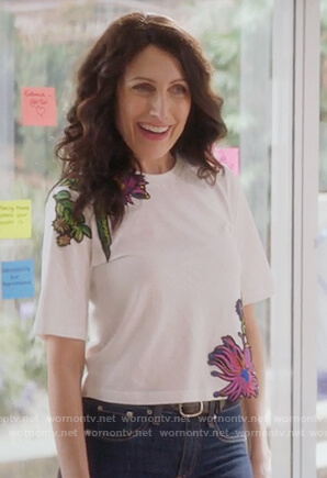Abby's white floral embroidered t-shirt on Girlfriends Guide to Divorce