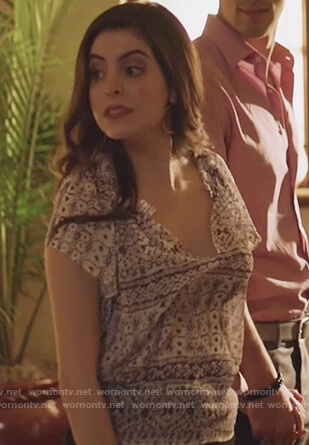 Isabela's white printed top on Queen of the South