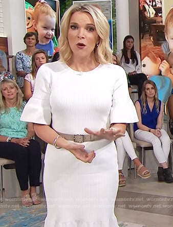 Megyn's white ribbed bell sleeve dress on Megyn Kelly Today