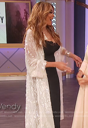 Wendy's white sequin embellished coat on The Wendy Williams Show